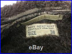Vintage WWII US Army Air Force N1 Deck Jacket Navy 38 Military Patches Benny