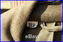 Vintage WWII US Army Military Wool Ike Jacket 36R With Pants 1946 With Patches
