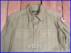 Vintage WWII US Army Uniform Shirt Military 1940s Service Forces Patch Wool Gab