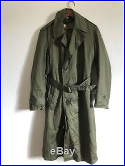 Vintage WWII US Military Army Wool Lined Trench Coat Size Small XXI Corps Patch