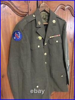 Vintage WWII Vietnam Era U. S. Army Dress Jacket With Patches Rank Pins Size 38 R