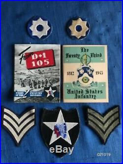 Vintage WW II 2 US Army 2nd infantry division Patch shoulder insignia +Rank Lot