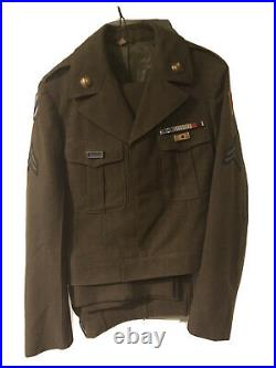 Vntage US Army Dress Green IKE Jacket, Post WWII, Pants, Ribbons, Patches, Brass