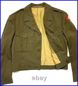 Vtg 1940s WWII FOURTH US ARMY Officers Field Jacket 38 R patch Wool IKE coat WW2