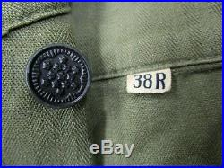 Vtg 40s 50s US Army HBT shirt PATCHES sz 38 WW2 Korea Herringbone Twill NAMED