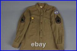 Vtg Men's 1933 Pre WWII US Army Wool Uniform Shirt With WW2 Alaska Patch Sz M ADC