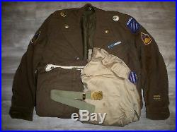 Vtg Post WWII Korea US Army Ike Jacket Uniform Shirt Pants Pins Patches Mens 36