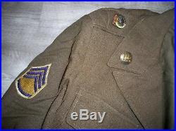 Vtg Post WWII Korea US Army Ike Jacket Uniform Shirt Pants Pins Patches Mens 36