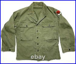 Vtg WWII 2ND US ARMY Field Jacket 38 R HBT 1940s WORK WEAR chore Shirt patch WW2