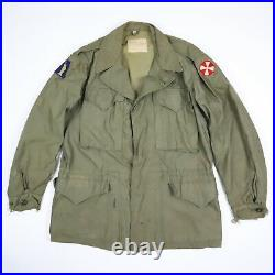 Vtg WWII US ARMY M-1943 Field Jacket Faded Paint Distressed Patched SIZE 38R