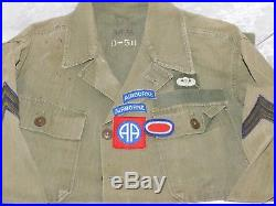 Vtg Wwii Us Army Paratrooper Airborne Patches Hbt Twill Green Herringbone Shirt