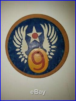 WA1-4 Original WW2 US Army Air Force 9th Air Force Shoulder Patch AAF Leather