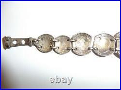 WA3-21 WW 2 US Army Air Force Pilot Bracelet British Coins trench art original