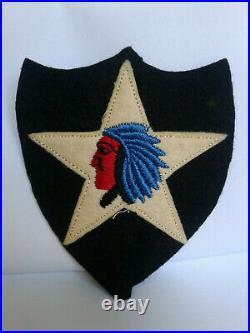 WW1 WW2 US Army 2nd Infantry felt embroidered patch has extra felt flap