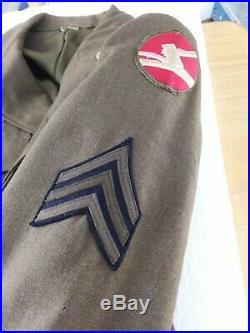 WW2 1944 US ARMY WOOL IKE FIELD JACKET WithCHEVRONS, PATCHES, PINS&RIBBONS