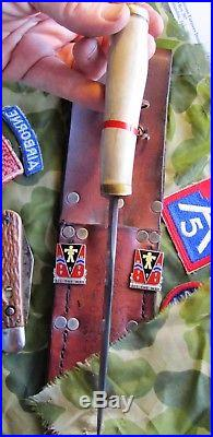 WW2 US ARMY 509th PIR 82nd DIVISION AIRBORNE PATCH and KNIFE GROUP