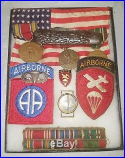 WW2 US ARMY 82nd DIVISION AIRBORNE PATCH and KNIFE GROUP