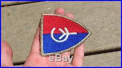 WW2 US ARMY MILITARY 38th Division Patch SSI INSIGNIA RARE SILVER BORDER CUT EDG