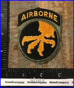 WW2 US Army 17th Airborne Division SSI Patch + Attached Tab One Piece OD Green