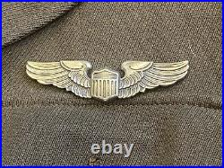 WW2 US Army Air Force Dress Jacket Bullion AAF HQ Patch, Pilot Wings Named