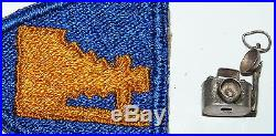 WW2 US Army Camera Photography Military Embroider Patch & Sterling Charm b3