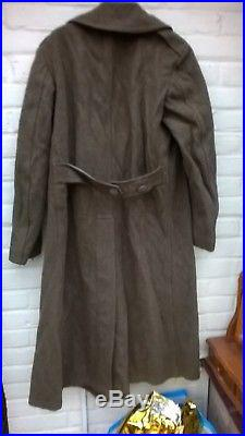 WW2 US Army Dated 1943 Winter Wool Roll Collar Great Coat Original 38L
