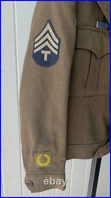 WW2 US Army Jacket Sz 40R Ike & Pants & Cap Vtg WWII Sergeant T/4 CHQ Patch
