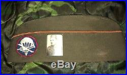 WW2 US Army Paraglider / Glider Airborne Overseas Cap w Patch & Photo