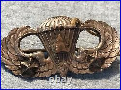 WW2 US Army Paratrooper Wings With Arrowhead And Stars sterling Pin Back