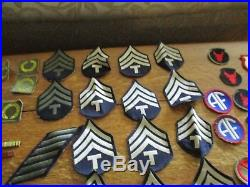 WW2 US Army Patches, Pins, Lot Of 90+ & FIRST AID KIT & Sewing Kit