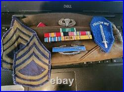 WW2 US Army Ribbons, Sterling Silver CIB, Silver Filled Jump Wings Garrison Cap