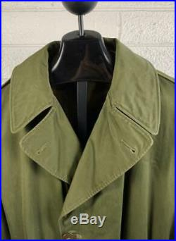 WW2 US Army Trench OverCoat Vtg Green WWII Jacket Sz Med OD-7 Patches