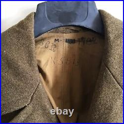WW2 US Army Wool Trench Coat 11th Corp Patch Size 36 Original