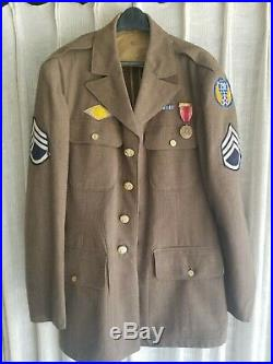 WW2 US US ARMY AIRFORCE DRESS UNIFORM JACKET Brass buttons, Patches, Medals, 39L