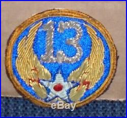 WW2 U. S. ARMY 13th AIR FORCE BULLION PATCH VERY RARE MADE IN THEATER