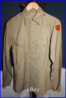 WW2 U. S. Army 3rd Army & Anti Aircraft Command Patched Khaki Officer Uniform Set