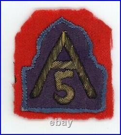 WW2 WWII US 5th Army Italian theatre made bullion patch SSI