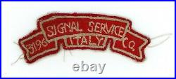 WW2 WWII US Army 3196th Signal Service Company scroll tab very rare Served Italy
