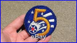 WW2 WWII US Army 5th Air Force SSI Insignia Patch Japanese Made Fully Embroidere