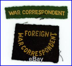 WW2 WWII US Army War Correspondent patches tab and SSI