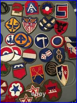 WW2 era US Army Patch Collection Grouping of 85 Military Patches