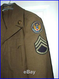 WWII 15th US Army Air Corp Air Force Wool Military Ike Jacket 34R withPatch SSG
