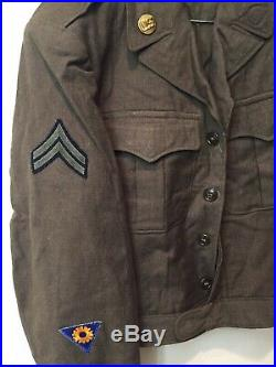 WWII 15th US Army Air Corp Air Force Wool Military Ike Jacket 38L withPatches