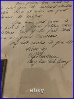 WWII Autographed Handwritten Letter & Patch US Army First Division Clift Andrus