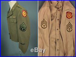 WWII ETO Made Ike Jacket & Shirt Port of Embarkment Patch Set 1940s US Army