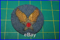 WWII ORIGINAL US Army Airforce USAAF Theater Made Bullion Patch Officer 12-058