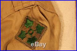 WWII US ARMY 4th INFANTRY DIVISION SHIRT WITH CHARBOURG BASTOGNE IVY LEAF PATCH
