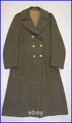 WWII US ARMY Overcoat Wool Melton OD Trench 32 Oz USAREUR Patch & Stripes 38L