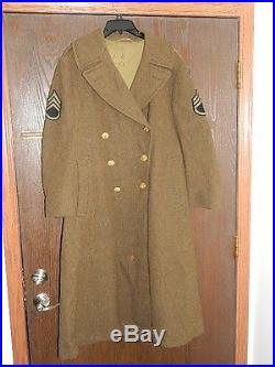 WWII US ARMY SERGEANT AIR FORCE THEATER WOOL TRENCH COAT JACKET With PATCHES 38R
