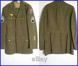 WWII US ARMY Wool Dress Jacket Pants Shirt UNIFORM Patches 38L Staff Sgt ADSEC